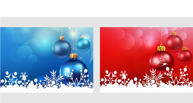 Merry Christmas. Greeting cards with Christmas balls, toys on a red and blue background. Two templates for your design: New Year cards, flyers, invitations, posters, brochures, banners. Vector.