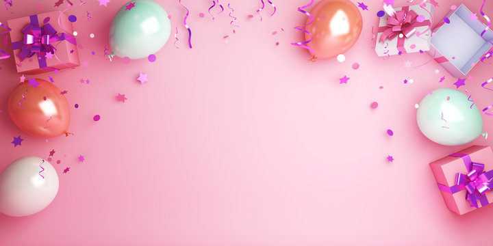 Happy New Year design creative concept, balloon, gift box, glittering confetti on pink background. Copy space text area, flat lay. 3D rendering illustration.
