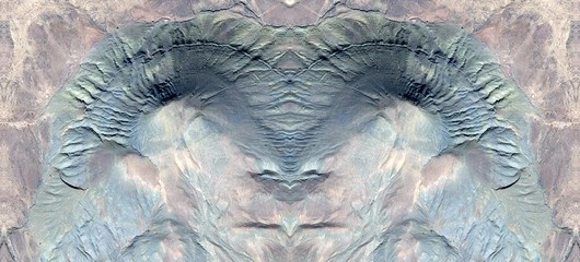 abstract symmetrical photograph of the deserts of Africa from the air, aerial view, abstract expressionism, mirror effect, symmetry, kaleidoscopic
