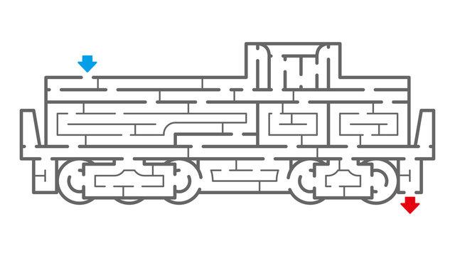 機関車の迷路(塗り絵)