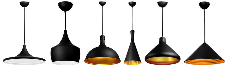 set of isolated loft style suspended ceiling lamp, made of painted metall