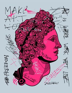 The Apollo Belvedere sculpture. Crazy pink calligraphy