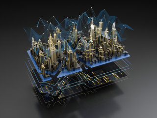Futuristic layers of the digital city - engineering сommunication, transport infrastructure, wireless, smart technology.