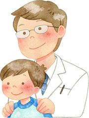 子供の肩に手を置く医者