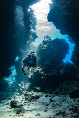 woman diver visiting underwater cave in the Red Sea, egypt, Shaab Claude
