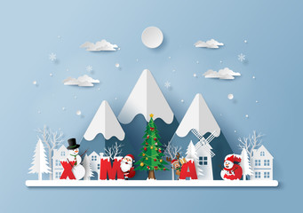 Paper art, Craft style of Santa Claus and friends in the village with word XMAS , Merry Christmas and Happy New Year