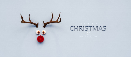 Reindeer toy with red nose Christmas background concept 3D Rendering Fotobehang