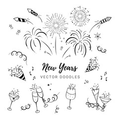 Fun hand drawn New Years Party doodles - firework, paper streamers, cocktails and rockets , great for banners, wallpapers, textiles, wrapping - vector design