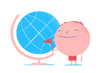 Round shape happy male cartoon character traveller - Vector