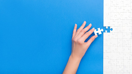 Business concept of white jigsaw puzzle.