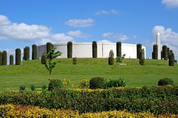 View of the Armed Forces Memorial and gardens, National Memorial Arboretum, Alrewas, UK.