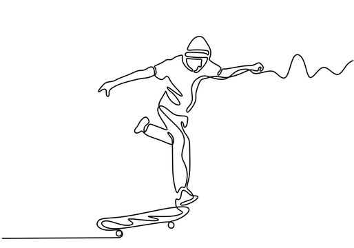 one continuous drawn line skateboard drawn by hand picture silhouette. Line art vector sketch single handdrawn. Minimalism design.