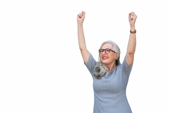 Mature older business person CEO cheering accomplishment, success, winner, celebrating with arms and fists raised in the air, isolated on white