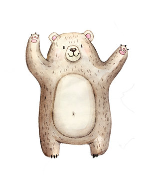 Cute watercolor bear, isolated illustration good for baby clothes print, children greeting card
