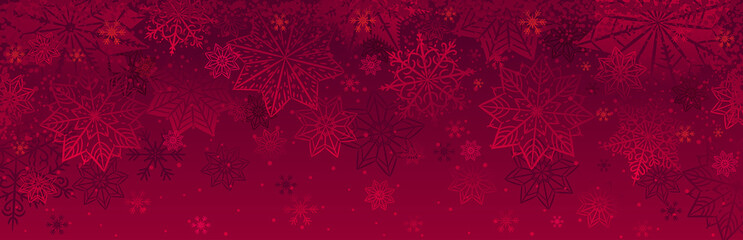 Red christmas banner with snowflakes. Merry Christmas and Happy New Year greeting banner. Horizontal new year background, headers, posters, cards, website.Vector illustration Wall mural