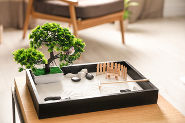 Printed roller blinds Zen Beautiful miniature zen garden on wooden table indoors