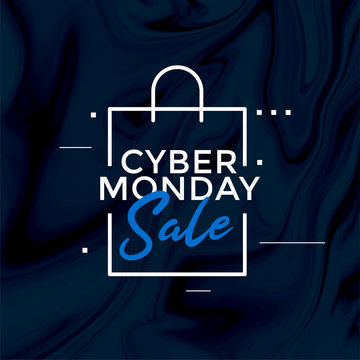 stylish cyber monday sale shopping bag design