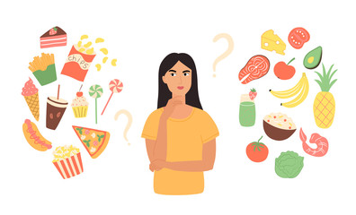 A woman chooses between healthy and unhealthy foods. Isolated concept of flat useful and fast useless clipart products vector illustration. Cartoon woman with a balanced diet, menu, diet.