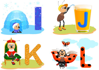 Alphabet ABC English letters for children. Igloo, juice, king and ladybug. Ant and funny alphabet