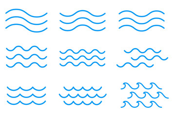 線による波のアイコンセット