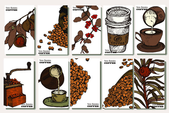 Coffee illustration set. Hand drawn vector banner. Beans, bag, cup, coffee machine,