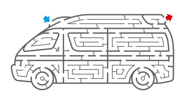 救急車の迷路(塗り絵)