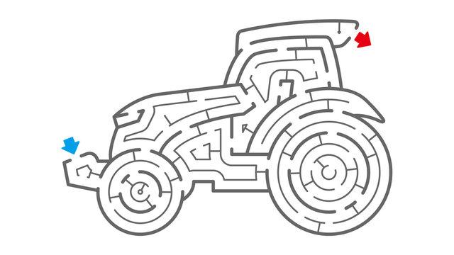 トラクターの迷路(塗り絵)