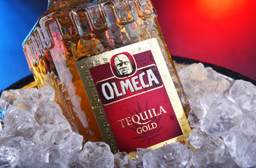 Bottle of Olmeca Tequila Gold in bucket with crushed ice
