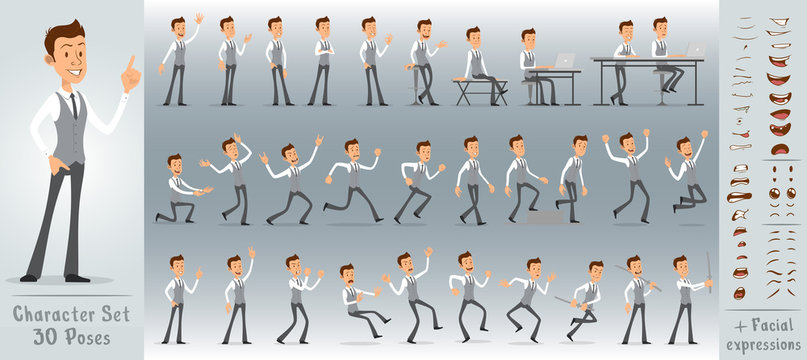 Cartoon flat cute funny business office boy character in jerkin with tie. 30 different poses and face expressions. Isolated on white background. Big vector icon set.