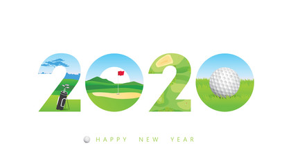 Vector Happy New Year 2020  text design with golf concept isolated on white background.