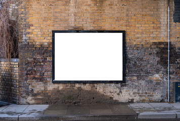 Billboard blank on brick wall near road for outdoor advertising poster artwork mockup