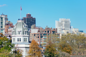 Skyline of Roosevelt Island with the Upper East Side of Manhattan in New York City in the background
