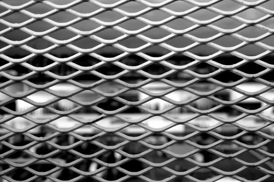 Close-Up View of Expanded Metal Mesh Panels