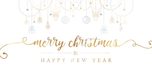 Merry Christmas and Happy New Year hand lettering with geometric elements