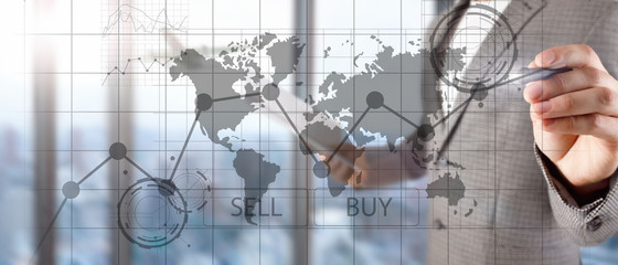 Forex Trading Investment Financial Chart Graphs. Business and technology concept