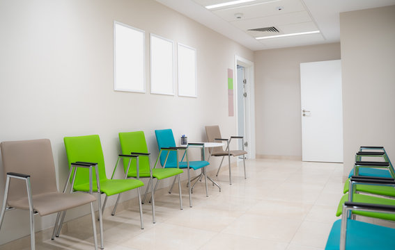 Esthetic and clean modern private clinic or vet waiting room with empty posters