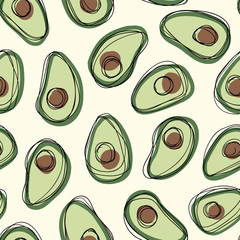 Hand drawn avocado seamless vector pattern with black doodle stroke on off white background. Healthy food print.
