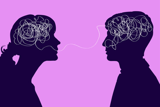 Dialogue between two people, confused thought concept. Communication between a man and a woman, problems in understanding.