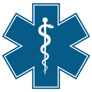 Medical symbol of the Emergency - Star of Life flat icon isolated on white background. EMS, First responder.