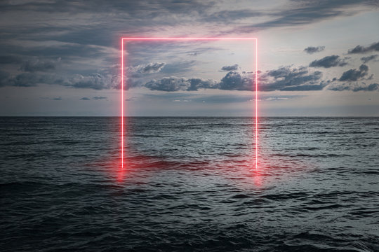 View of the calm sea in the evening, a neon frame emerging from the water, futuristic background