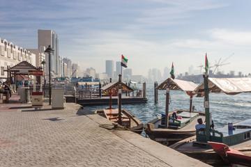 DUBAI - UAE, DECEMBER 26 2017: Traditional boats on the Dubai creek Wall mural