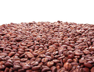 roasted coffee beans background. arabica and robusta mix. shallow depth of field. white copy space on the top