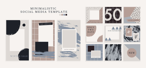 Trendy color pallette, winter vibe templates for post and stories for your social media. Puzzle textured background content for social network. Cute and cozy cold colors. Vector, editable collage Fotomurales