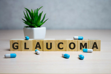 GLAUCOMA word made with building blocks, medical concept