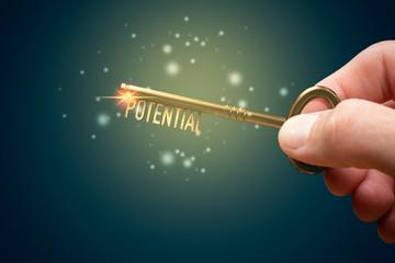 Coach has a key to unlock potential - motivation concept