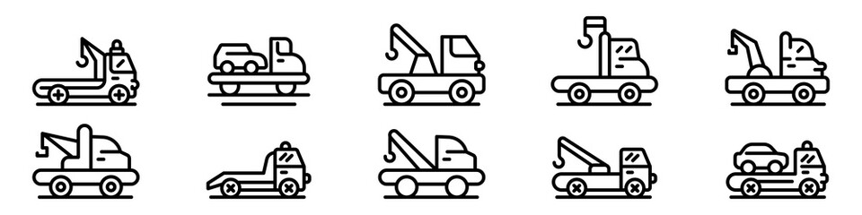 Tow truck icons set. Outline set of tow truck vector icons for web design isolated on white background