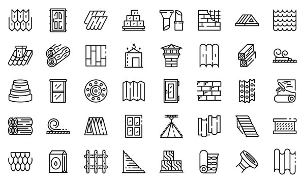Construction materials icons set. Outline set of construction materials vector icons for web design isolated on white background