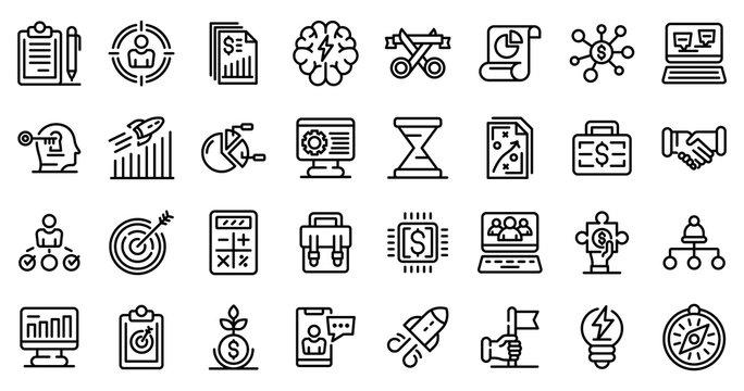 Entrepreneur icons set. Outline set of entrepreneur vector icons for web design isolated on white background