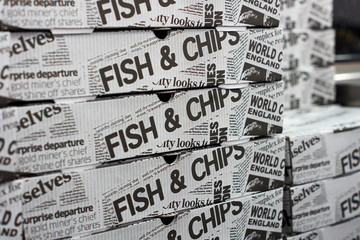 Fish & Chips Boxes Newspaper Style British United Kingdom