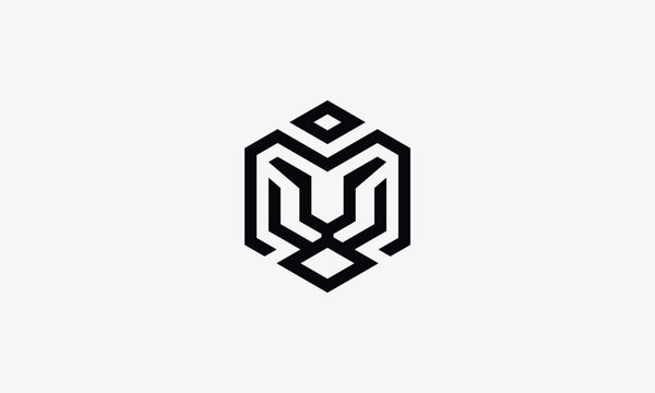 Tiger abstract logo template. Line art - vector